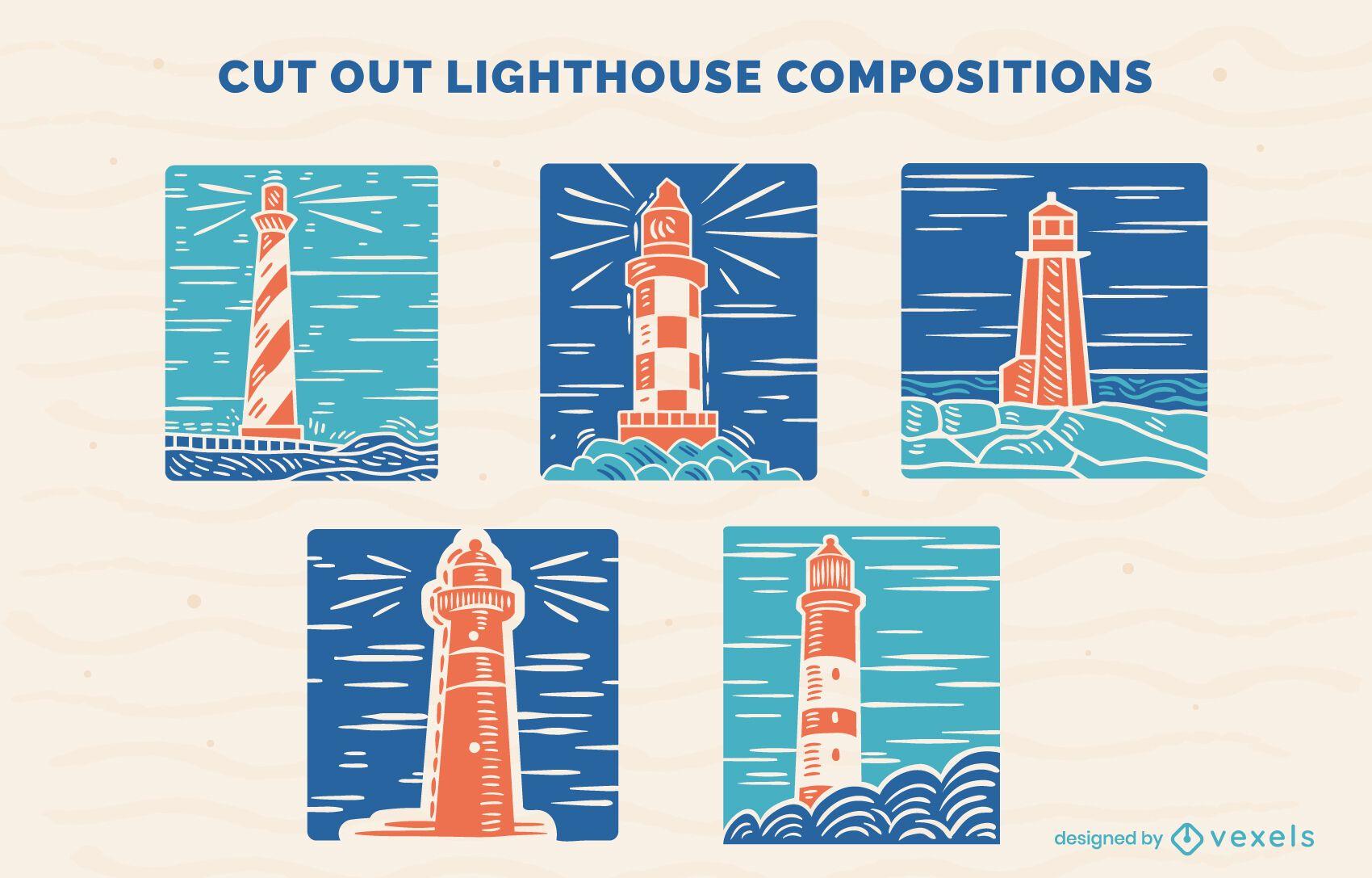 Leuchtturm Ozeanführer Zusammensetzung Set