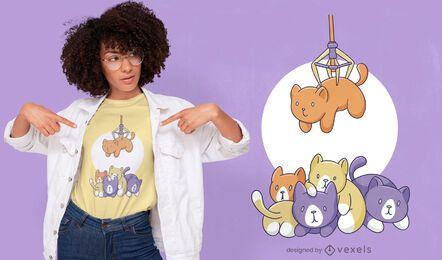 Diseño de camiseta de máquina de garra de gato lindo