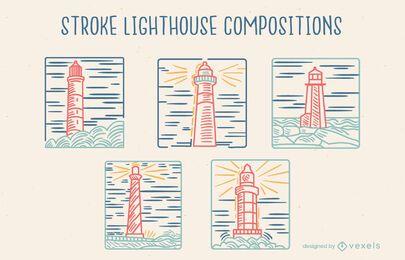 Lighthouse guide composition line art set