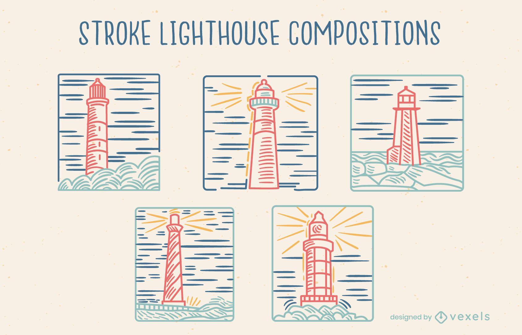 Leuchtturmführer Komposition Line Art Set