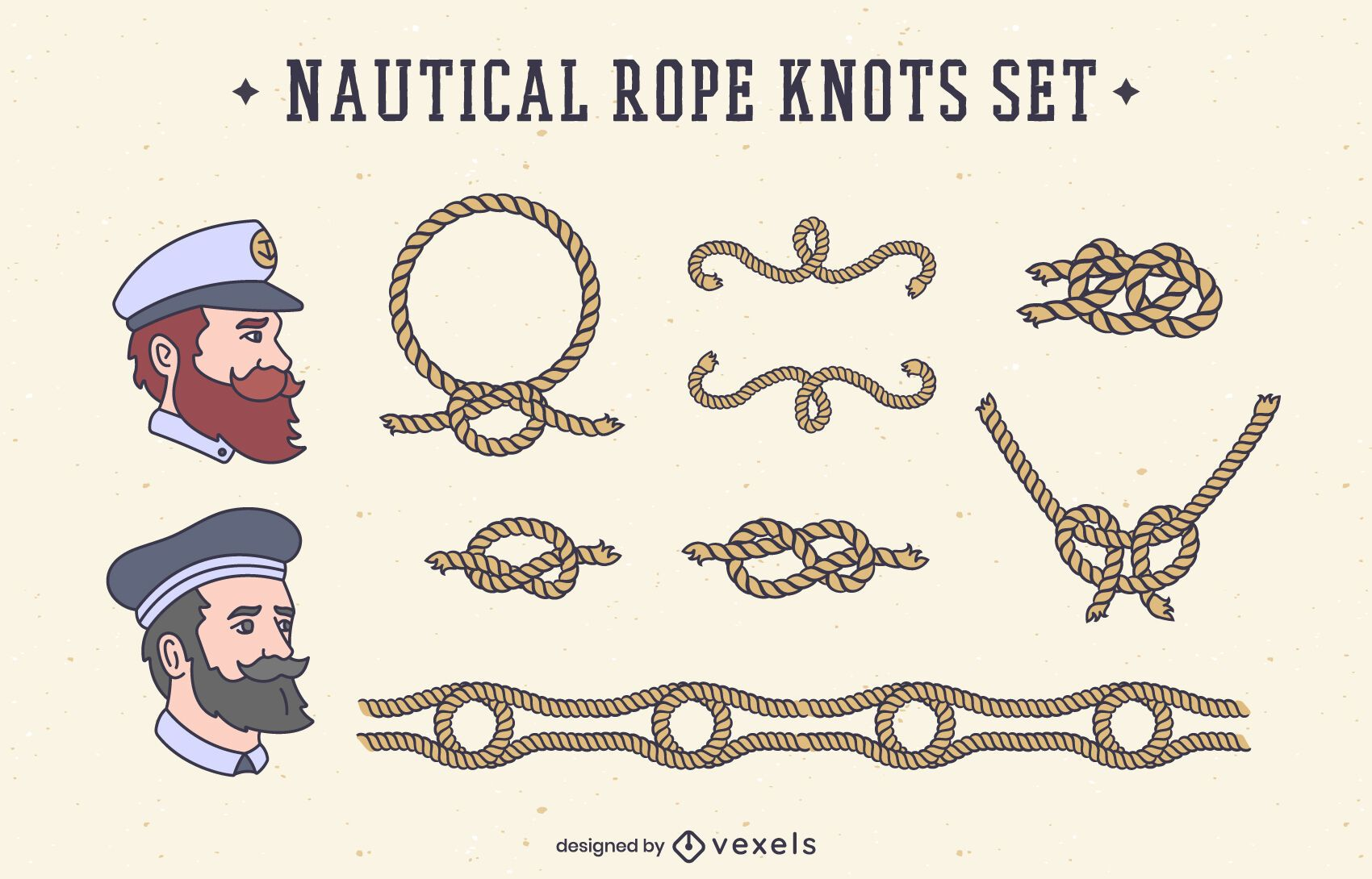Sailing knots nautical elements set