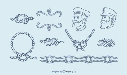 Conjunto de arte de línea náutica de nudos de vela.