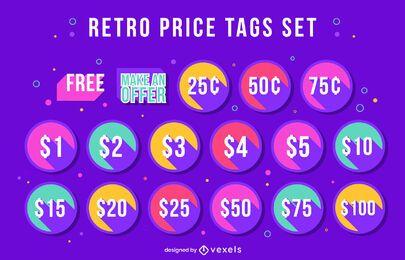 Etiquetas de precio de descuento conjunto de estilo retro