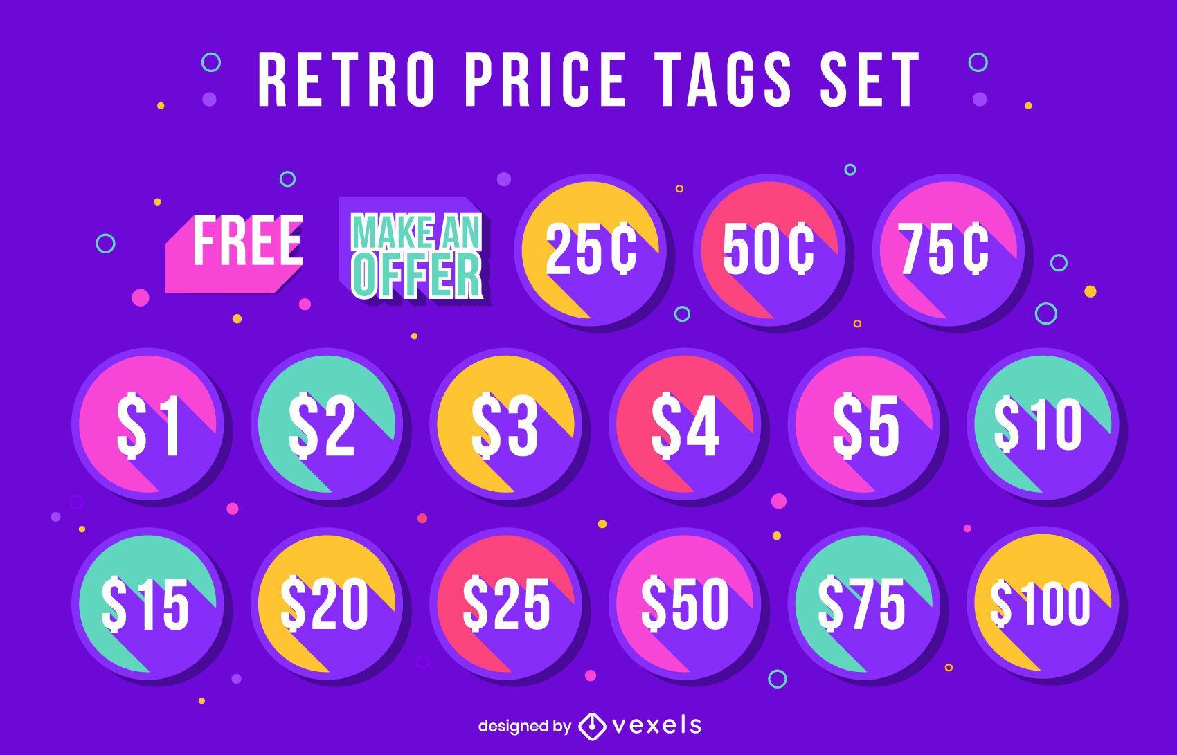 Price tags discount retro style set