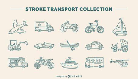 Conjunto de arte de línea de vehículo de transporte.