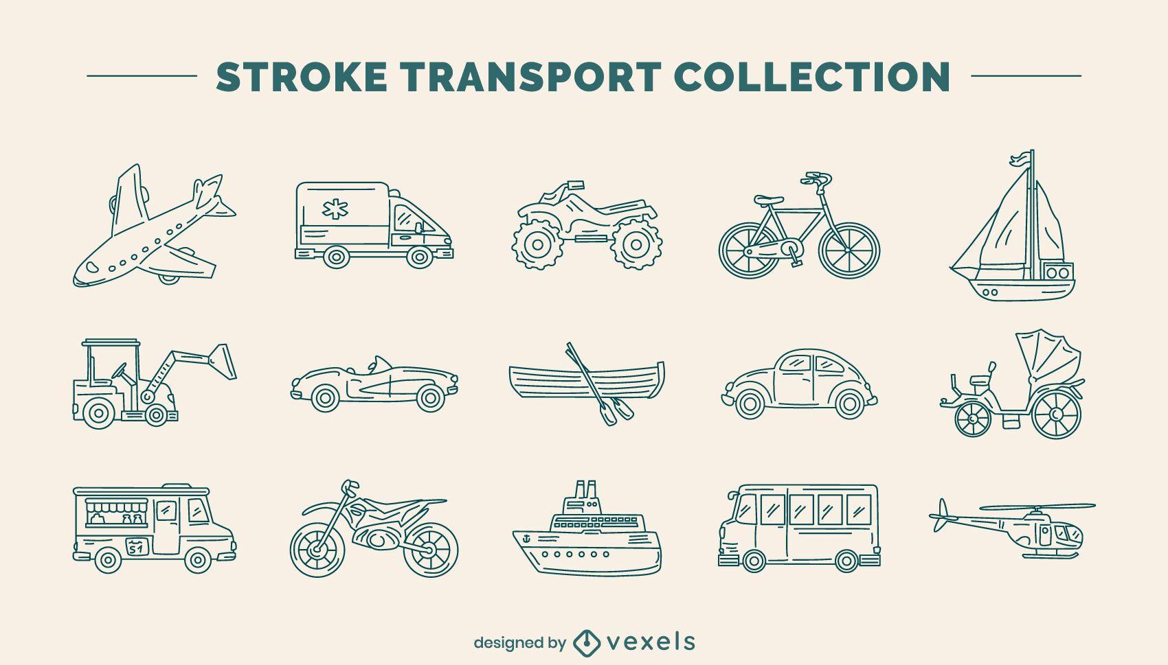 Transportation vehicle line art set