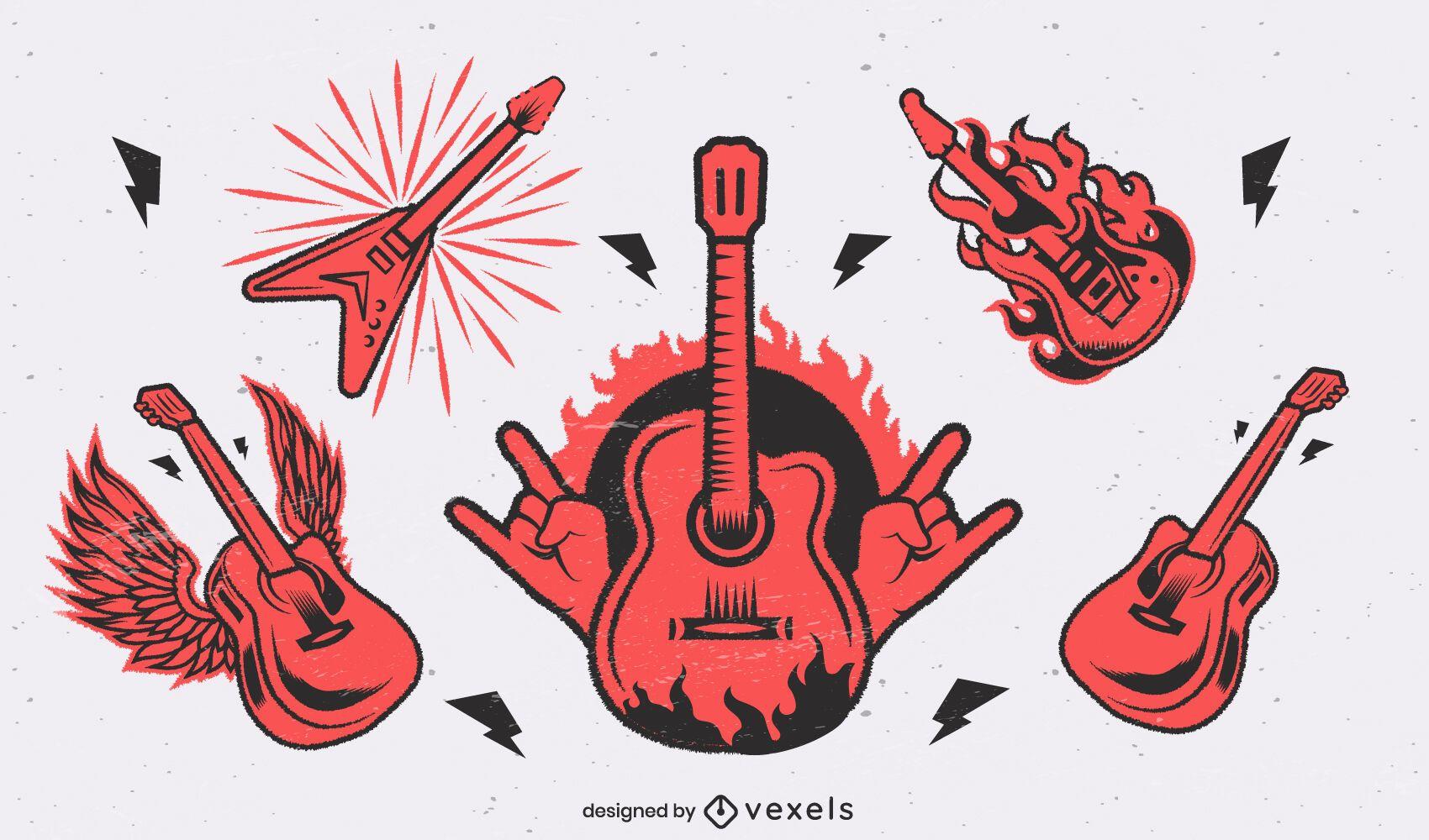 Conjunto de guitarra de instrumentos musicales de rock and roll.