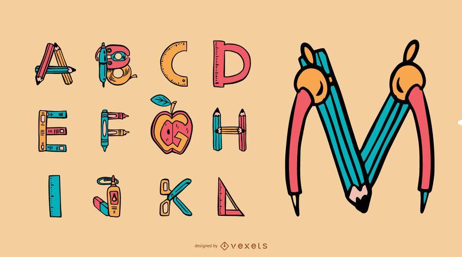 Conjunto de letras de útiles escolares del alfabeto