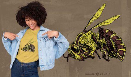 Diseño de camiseta realista de abeja muerta.