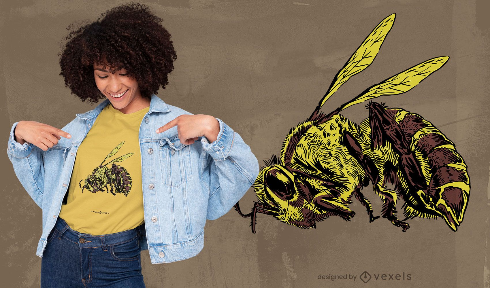 Dead bee realistic t-shirt design
