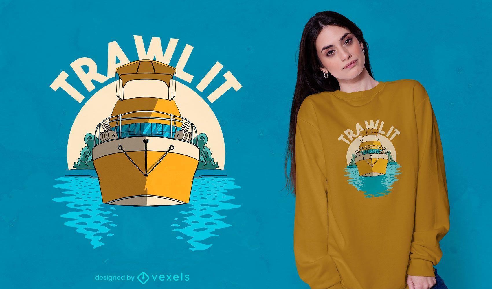 Barco de arrastre en el diseño de la camiseta del océano.