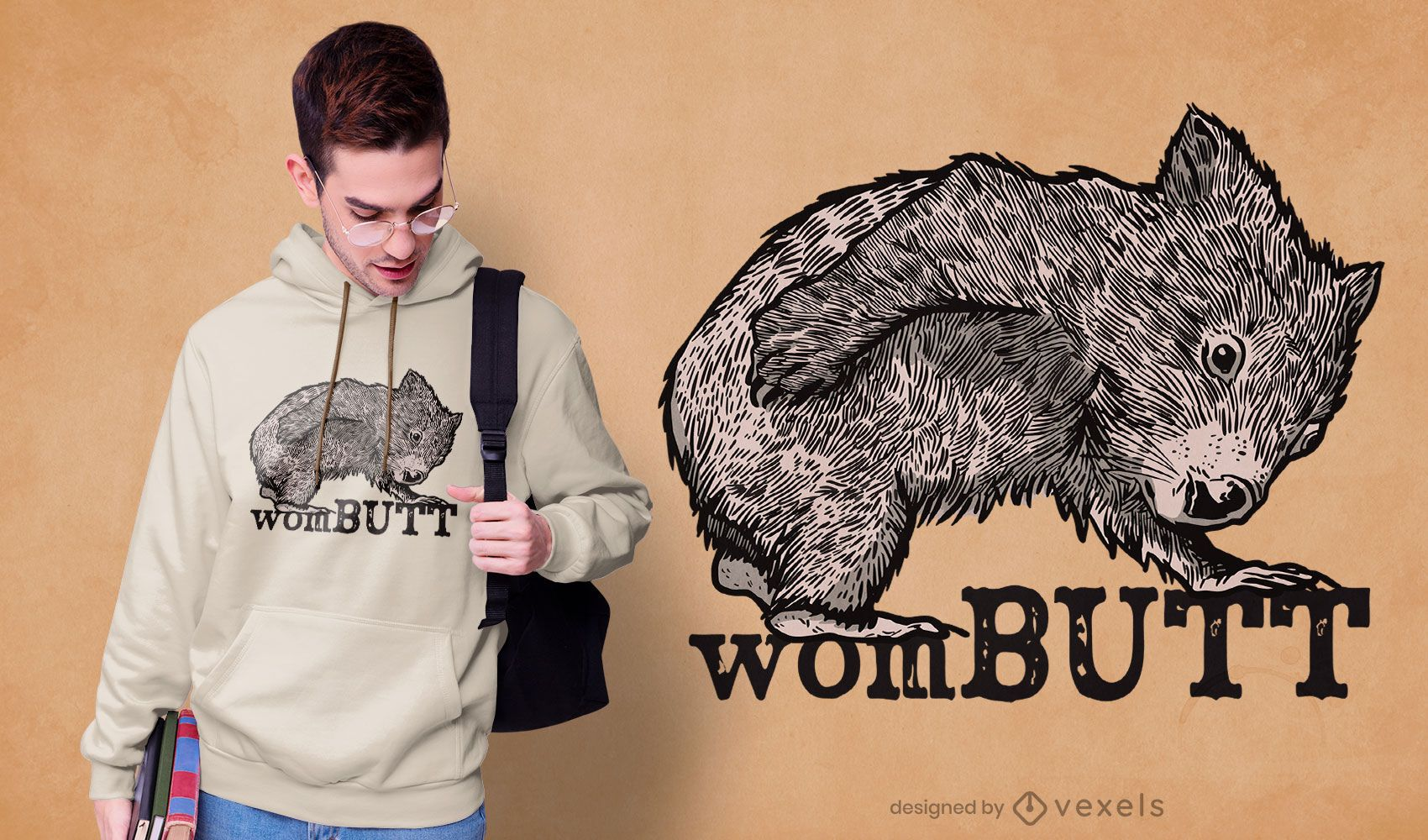 Diseño de camiseta divertida de Wombat