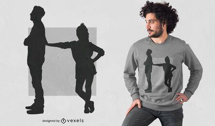Diseño de camiseta de silueta de papá e hija.