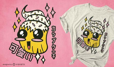 Diseño de camiseta kawaii sprinkle cupcake