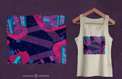 Diseño de camiseta de cruce de calle.