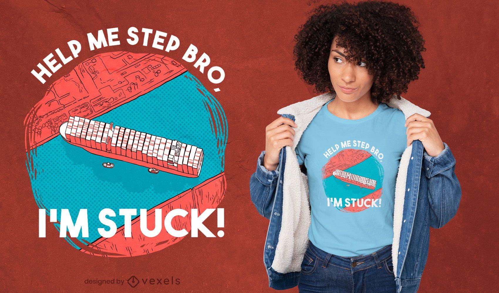 Stuck cargo ship t-shirt design