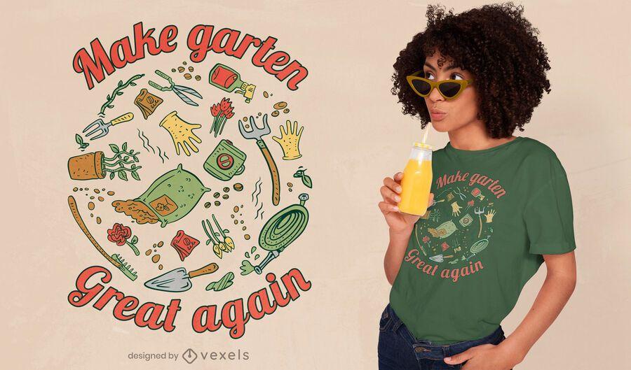 Design de camisetas de ferramentas e suprimentos de jardinagem