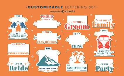 Family holiday customizable label set