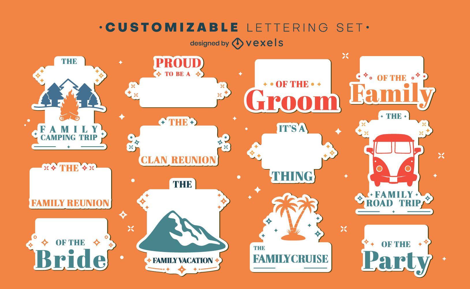 Conjunto de etiquetas personalizables de vacaciones familiares