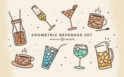 Drink beverage cute geometric set