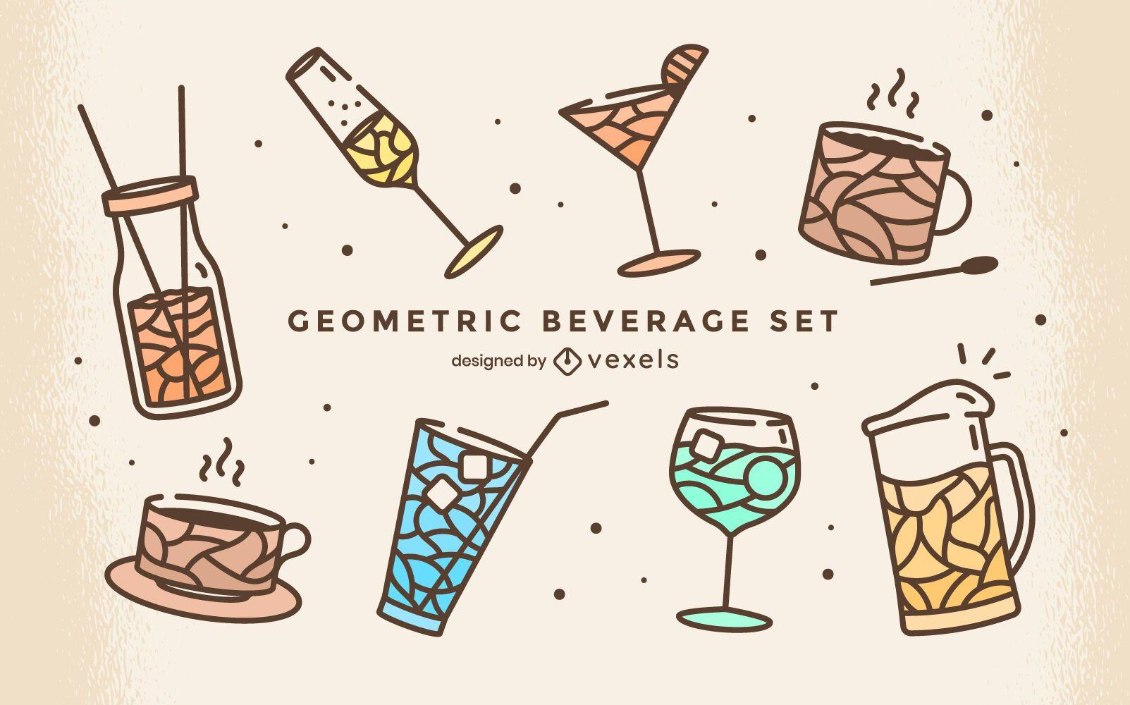 Drink beverage cute geometric set