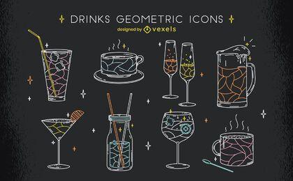 Beber bebida línea geométrica conjunto de arte