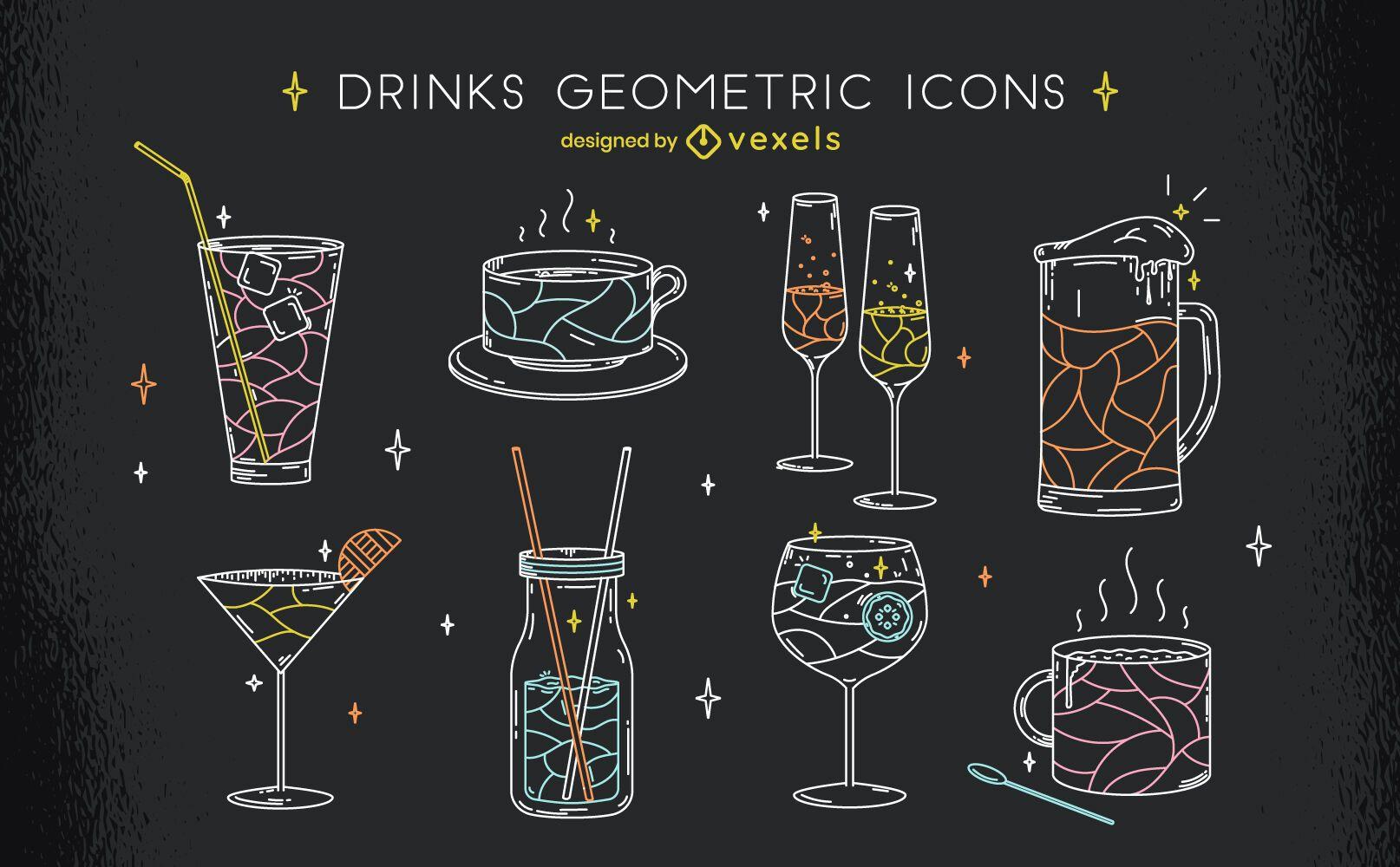 Geometrisches Strichgrafik-Set für Getränke trinken