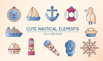 Niedlicher segelnder nautischer Elementensatz