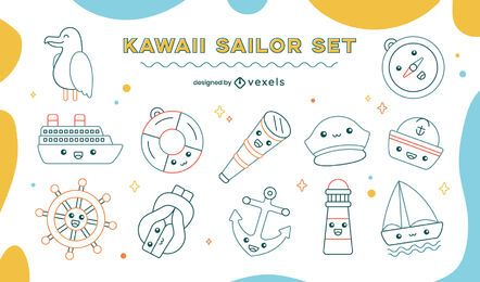 Kawaii sailing nautical line art set