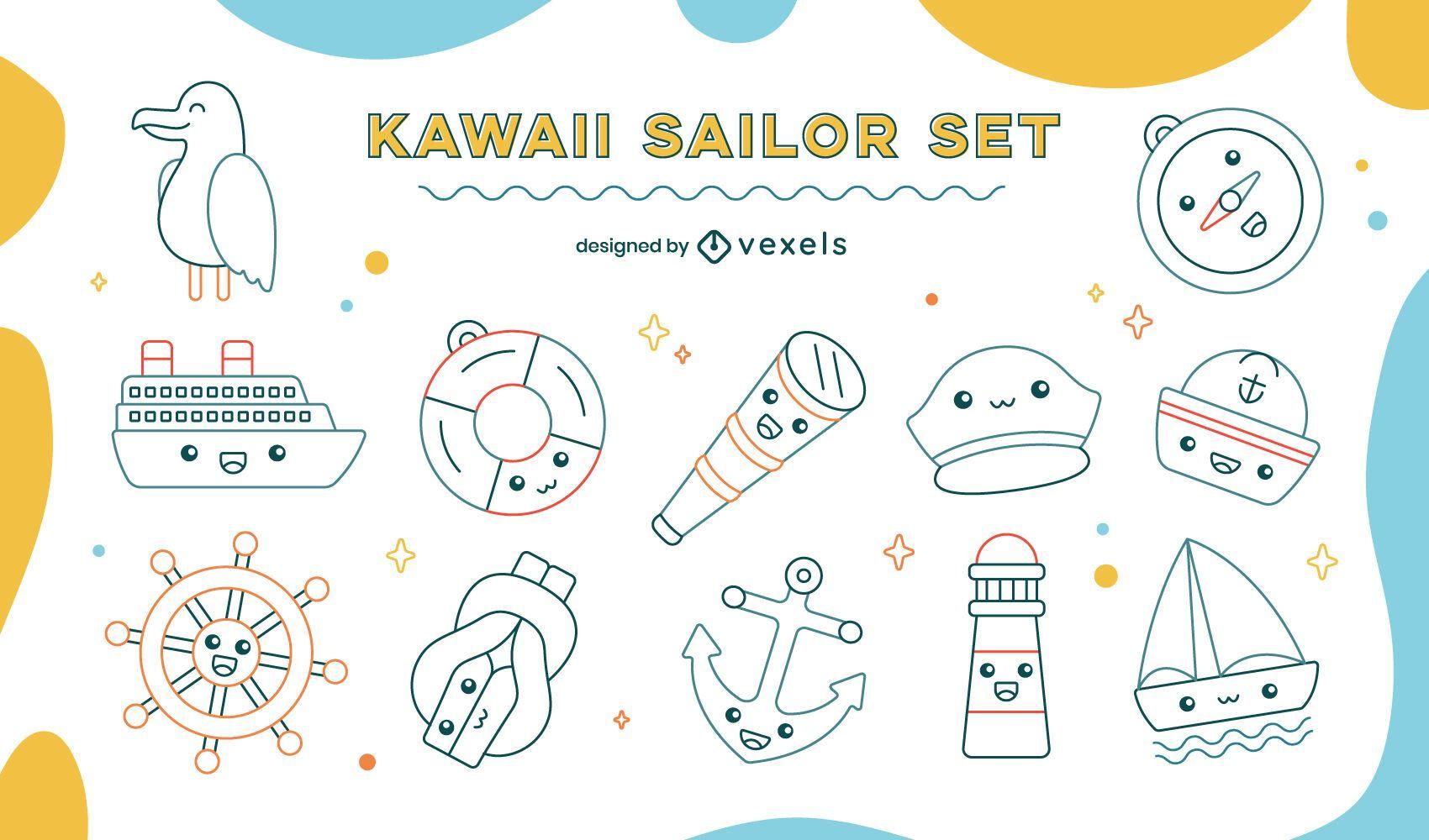Conjunto de arte de línea náutica de vela kawaii