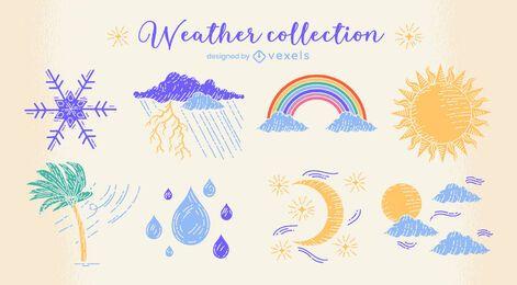 Conjunto de doodle de natureza de condições climáticas