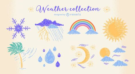 Weather conditions nature doodle set