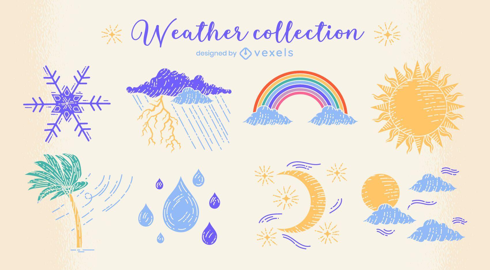 Conjunto de doodle de naturaleza de condiciones climáticas