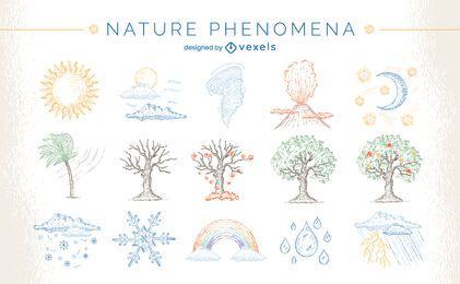 Condiciones climáticas naturaleza conjunto dibujado a mano.