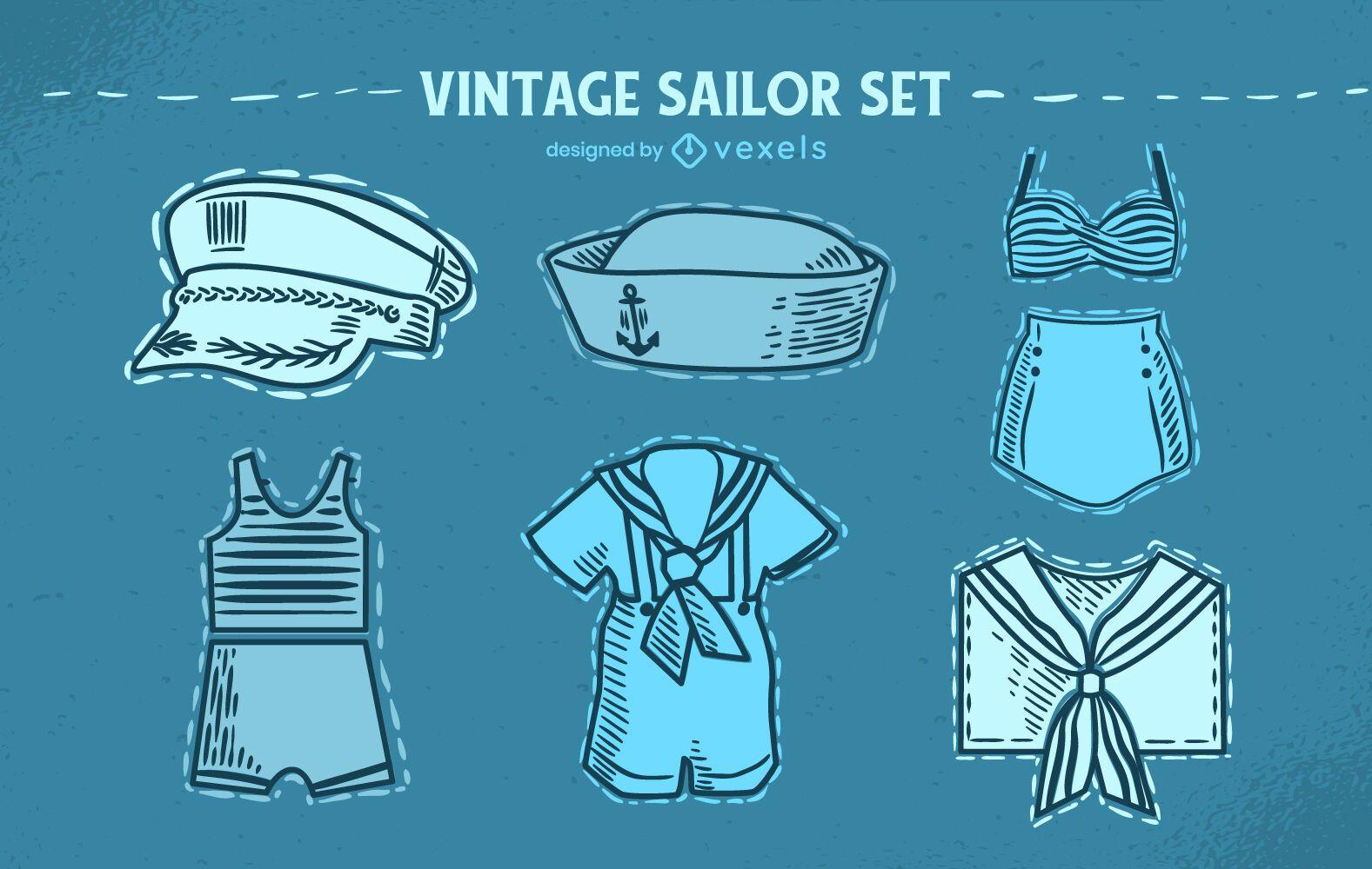 Conjunto vintage de uniforme de ropa de marinero