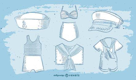Conjunto de acuarela vintage uniforme de ropa de marinero