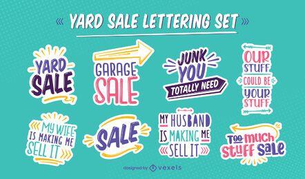 Conjunto de letras de cotización de oferta de venta de garaje