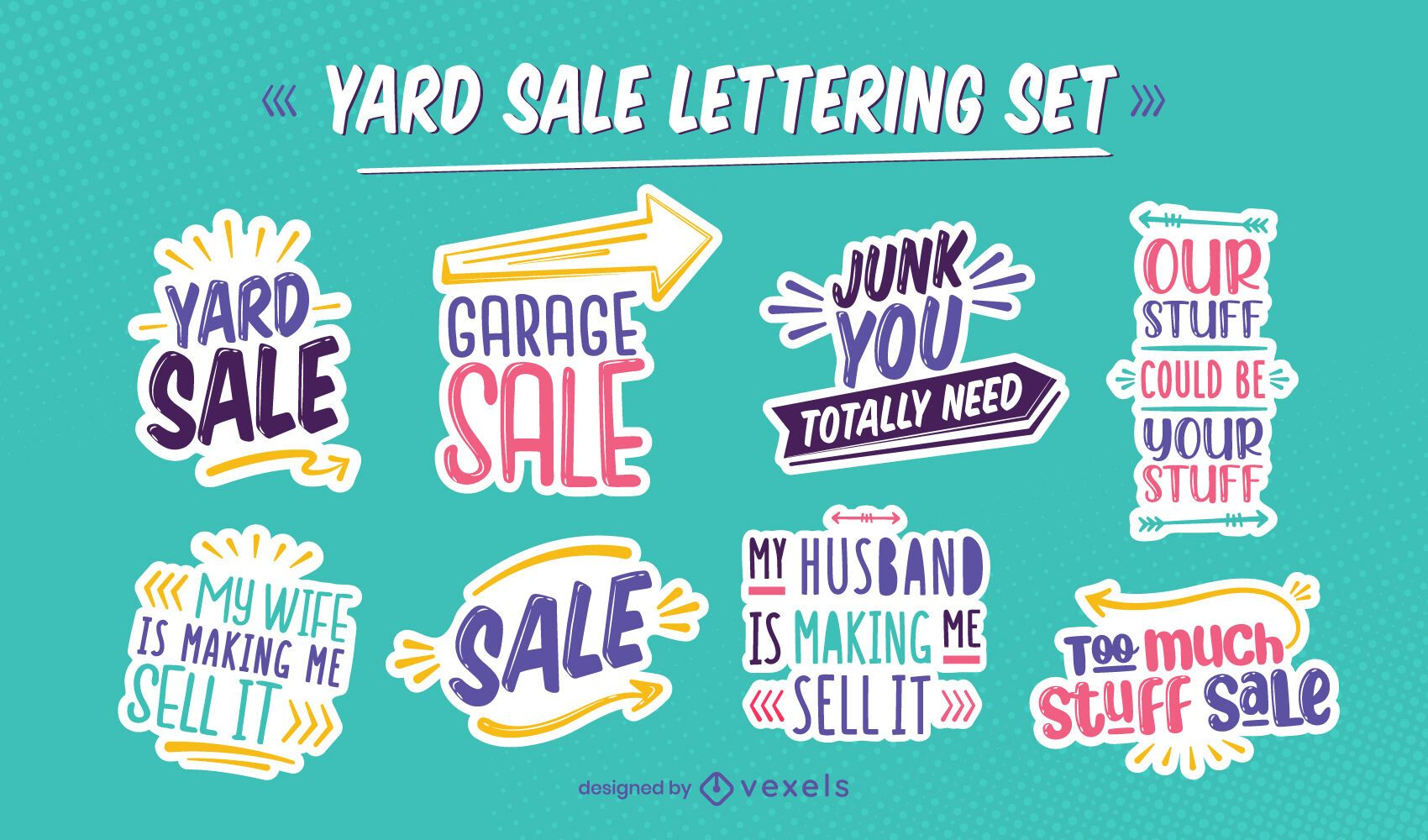 Yard sale offer quote lettering set