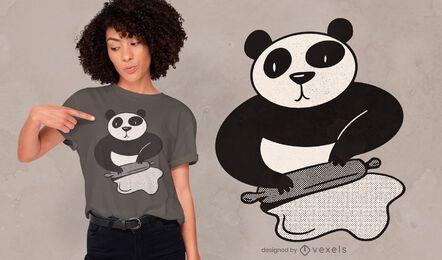 Diseño de camiseta panda cooking rolling pin