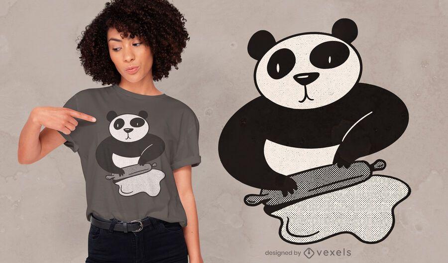 Design de t-shirt do rolo da panda cozinhando