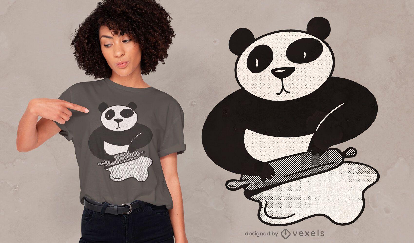 Panda cooking rolling pin t-shirt design