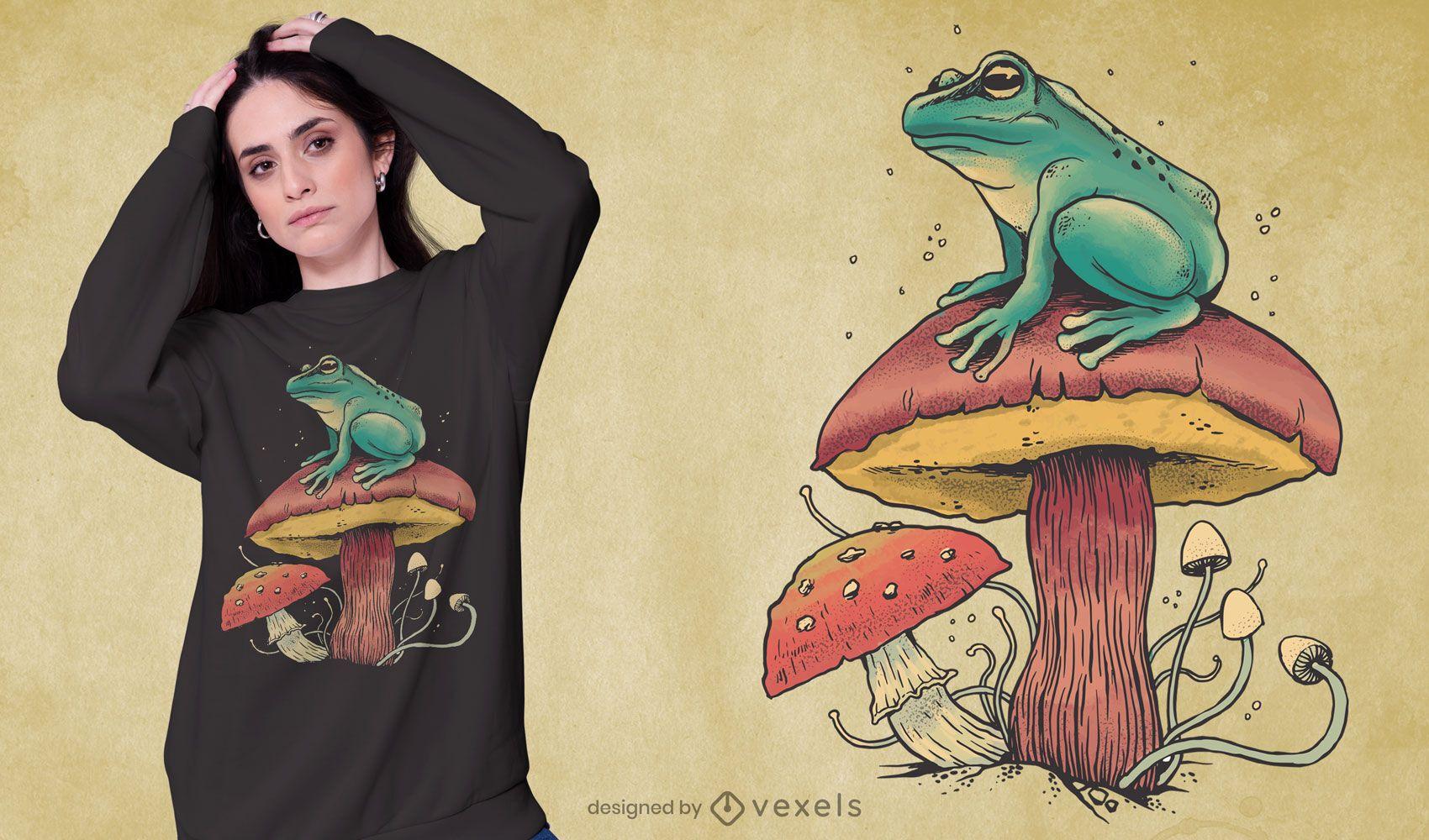 Diseño de camiseta de rana sobre seta naturaleza