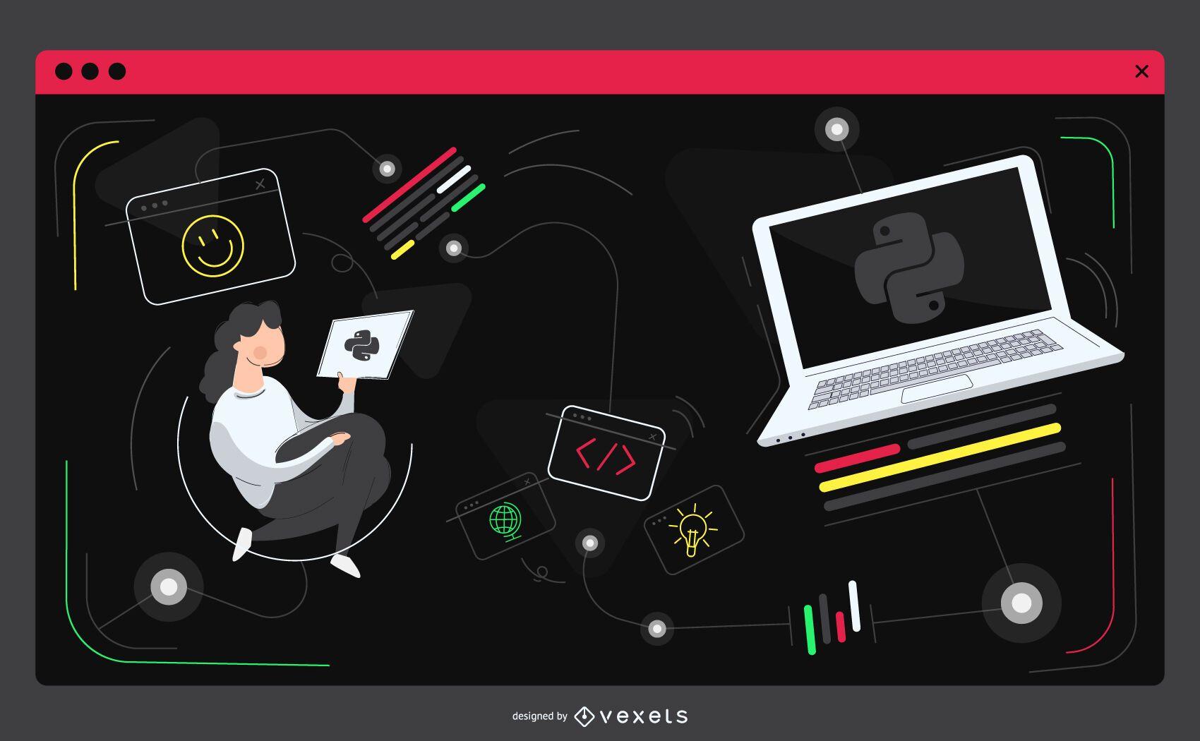 Ilustración de sitio web de código de programación