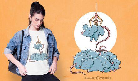 Ratos em design de t-shirt de máquina de garra