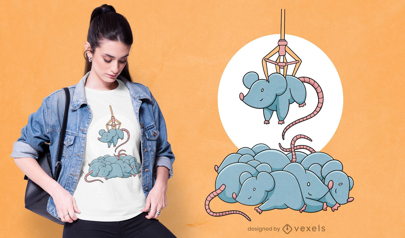 Ratones en diseño de camiseta de máquina de garras.