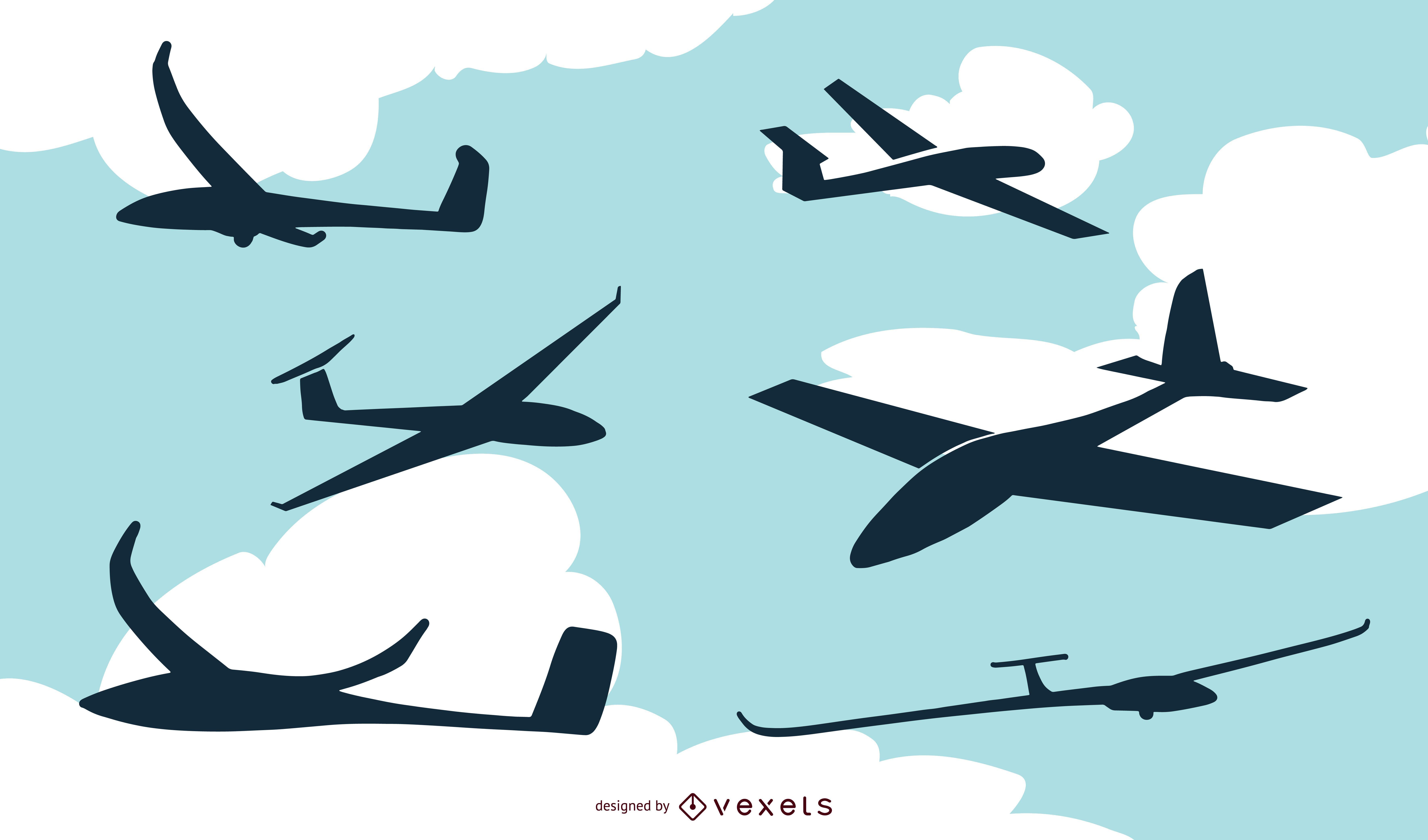 Conjunto de ilustração de silhueta de avião