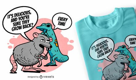 Design de camiseta com cauda de rato e lagarto