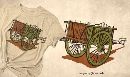 Diseño de camiseta antigua de carro de madera.