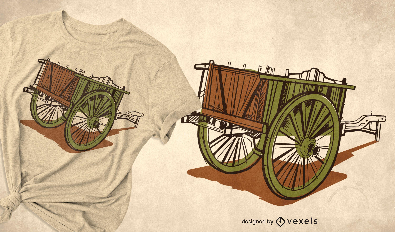 Wooden cart antique t-shirt design