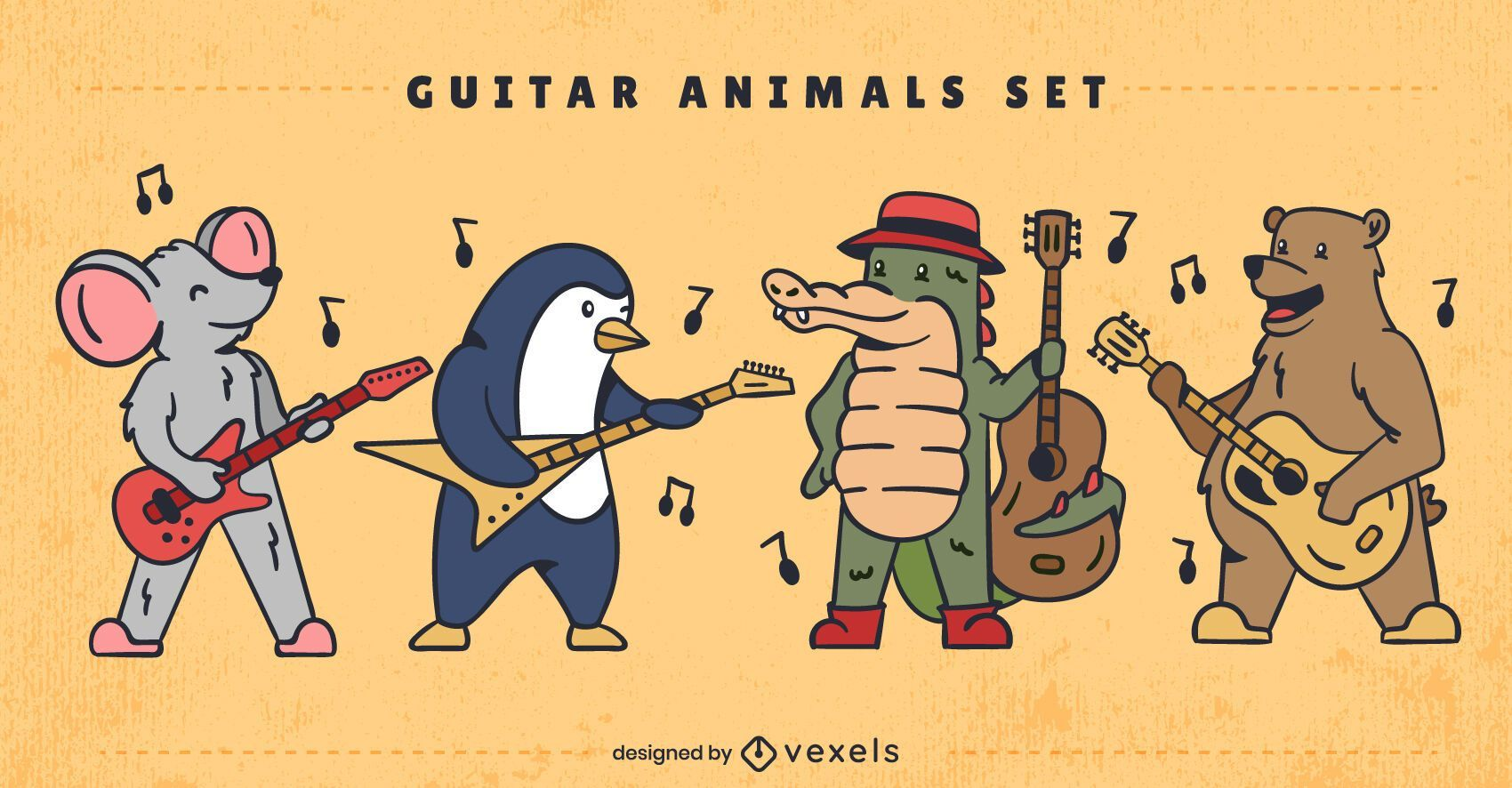 Conjunto de caracteres de animales tocando instrumentos.